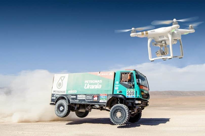 DJI Phantom 3 Professional in action on Dakar rally