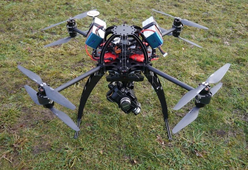 Droidworx SkyJib drone on the grass