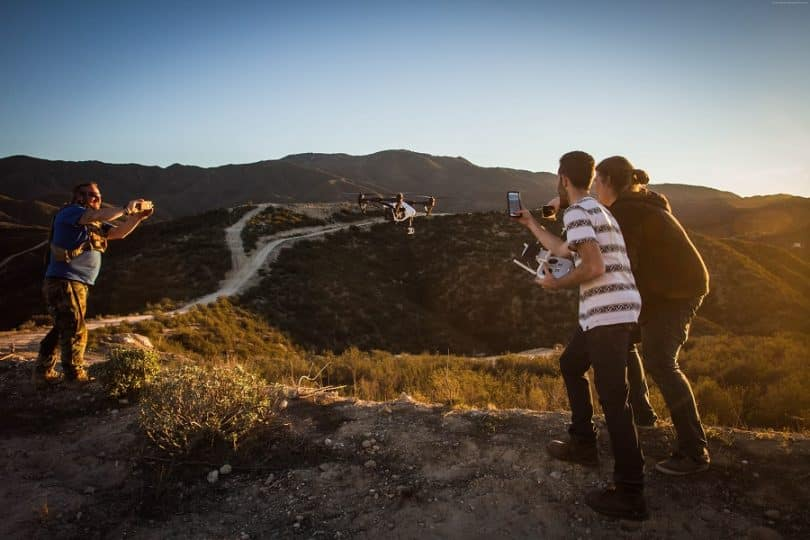 Flying a drone with hd camera