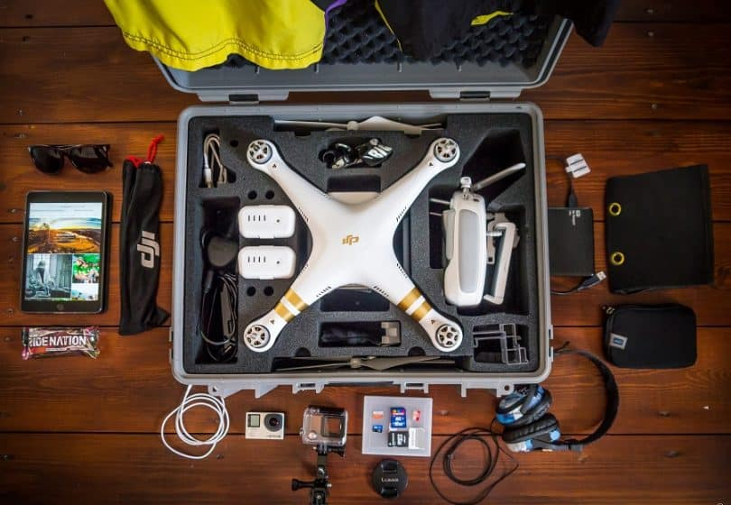 The DJI Phantom 3 Professional drone in the case
