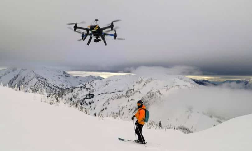 Flying drone during winter