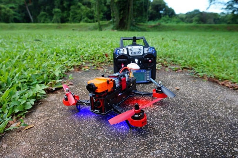 Eachine racer 250 drone on the ground