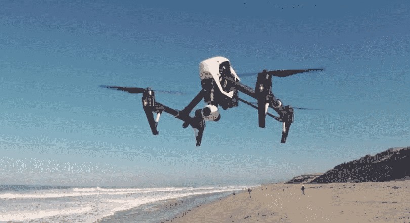 DJI T600-Dual-Controllers Inspire 1 Quadcopter in the air